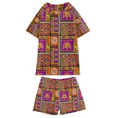 Traditional Africa Border Wallpaper Pattern Colored 3 Kids  Swim Tee And Shorts Set