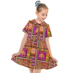 Traditional Africa Border Wallpaper Pattern Colored 3 Kids  Short Sleeve Shirt Dress