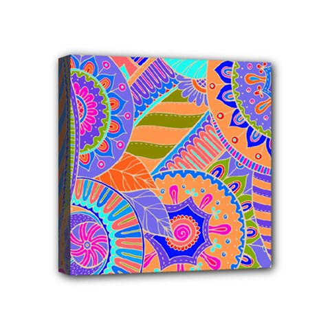 Pop Art Paisley Flowers Ornaments Multicolored 3 Mini Canvas 4  X 4