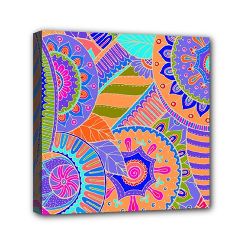 Pop Art Paisley Flowers Ornaments Multicolored 3 Mini Canvas 6  X 6