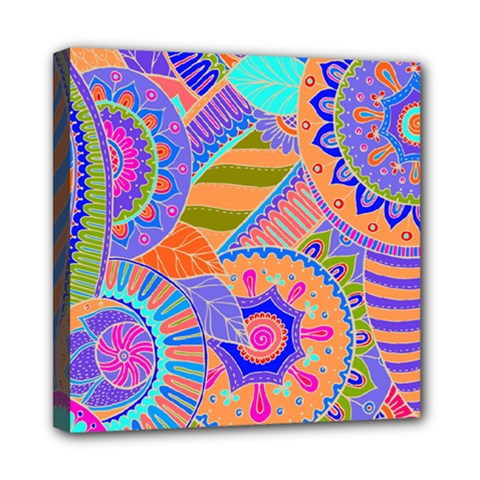 Pop Art Paisley Flowers Ornaments Multicolored 3 Mini Canvas 8  X 8