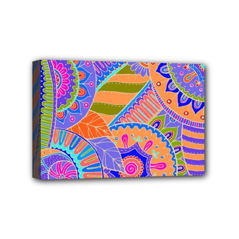 Pop Art Paisley Flowers Ornaments Multicolored 3 Mini Canvas 6  X 4