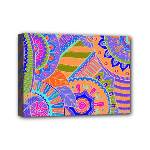 Pop Art Paisley Flowers Ornaments Multicolored 3 Mini Canvas 7  X 5