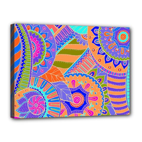 Pop Art Paisley Flowers Ornaments Multicolored 3 Canvas 16  X 12