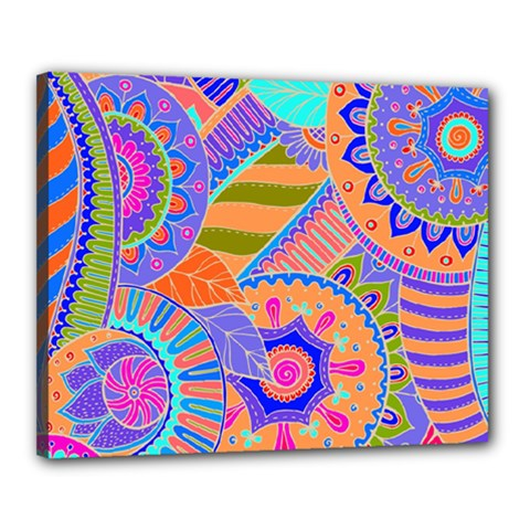 Pop Art Paisley Flowers Ornaments Multicolored 3 Canvas 20  X 16