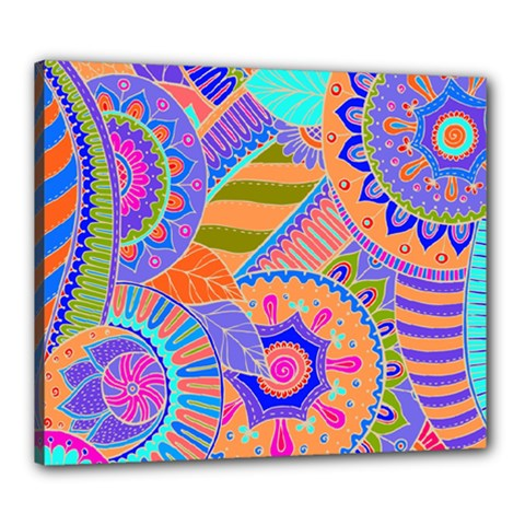 Pop Art Paisley Flowers Ornaments Multicolored 3 Canvas 24  X 20