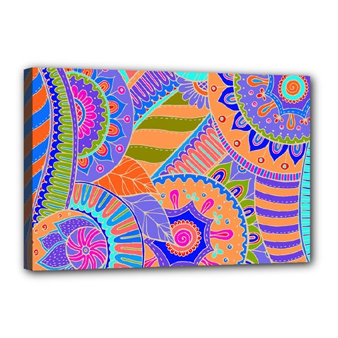 Pop Art Paisley Flowers Ornaments Multicolored 3 Canvas 18  X 12