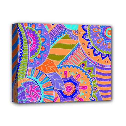 Pop Art Paisley Flowers Ornaments Multicolored 3 Deluxe Canvas 14  X 11