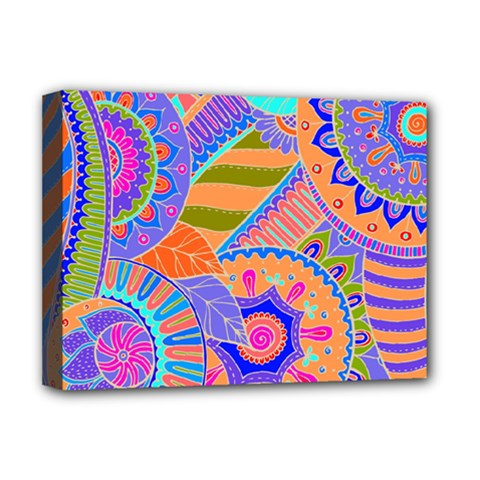 Pop Art Paisley Flowers Ornaments Multicolored 3 Deluxe Canvas 16  X 12