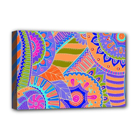 Pop Art Paisley Flowers Ornaments Multicolored 3 Deluxe Canvas 18  X 12