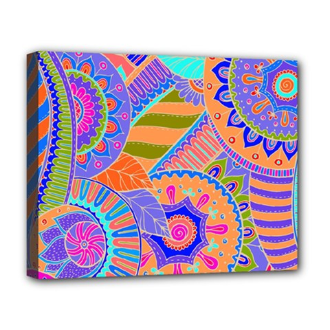 Pop Art Paisley Flowers Ornaments Multicolored 3 Deluxe Canvas 20  X 16