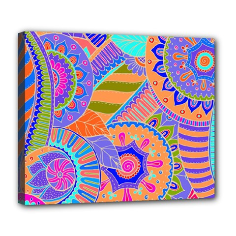 Pop Art Paisley Flowers Ornaments Multicolored 3 Deluxe Canvas 24  X 20