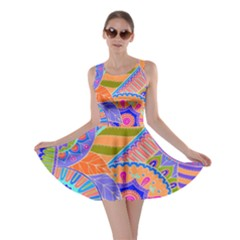 Pop Art Paisley Flowers Ornaments Multicolored 3 Skater Dress