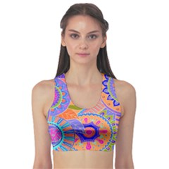 Pop Art Paisley Flowers Ornaments Multicolored 3 Sports Bra