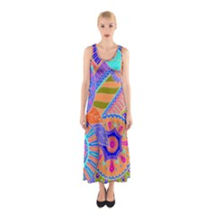 Pop Art Paisley Flowers Ornaments Multicolored 3 Sleeveless Maxi Dress