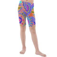 Pop Art Paisley Flowers Ornaments Multicolored 3 Kids  Mid Length Swim Shorts