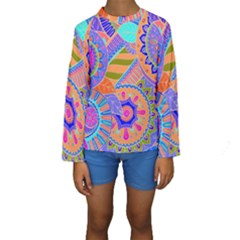 Pop Art Paisley Flowers Ornaments Multicolored 3 Kids  Long Sleeve Swimwear