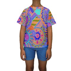 Pop Art Paisley Flowers Ornaments Multicolored 3 Kids  Short Sleeve Swimwear