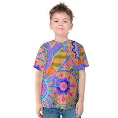 Pop Art Paisley Flowers Ornaments Multicolored 3 Kids  Cotton Tee