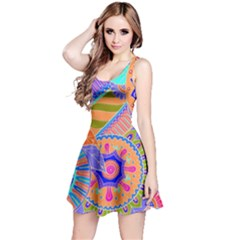 Pop Art Paisley Flowers Ornaments Multicolored 3 Reversible Sleeveless Dress