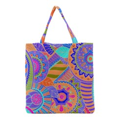 Pop Art Paisley Flowers Ornaments Multicolored 3 Grocery Tote Bag