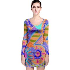 Pop Art Paisley Flowers Ornaments Multicolored 3 Long Sleeve Bodycon Dress