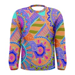 Pop Art Paisley Flowers Ornaments Multicolored 3 Men s Long Sleeve Tee