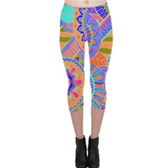 Pop Art Paisley Flowers Ornaments Multicolored 3 Capri Leggings
