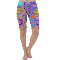 Pop Art Paisley Flowers Ornaments Multicolored 3 Cropped Leggings