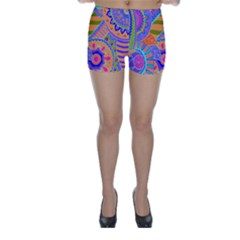 Pop Art Paisley Flowers Ornaments Multicolored 3 Skinny Shorts
