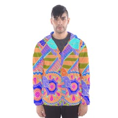Pop Art Paisley Flowers Ornaments Multicolored 3 Hooded Windbreaker (men)