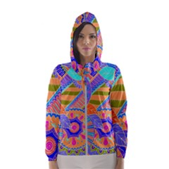 Pop Art Paisley Flowers Ornaments Multicolored 3 Hooded Windbreaker (women)