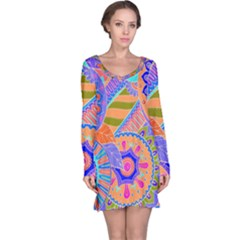 Pop Art Paisley Flowers Ornaments Multicolored 3 Long Sleeve Nightdress