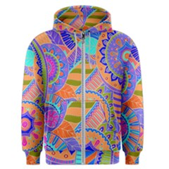 Pop Art Paisley Flowers Ornaments Multicolored 3 Men s Zipper Hoodie