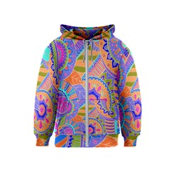 Pop Art Paisley Flowers Ornaments Multicolored 3 Kids  Zipper Hoodie