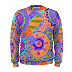 Pop Art Paisley Flowers Ornaments Multicolored 3 Men s Sweatshirt