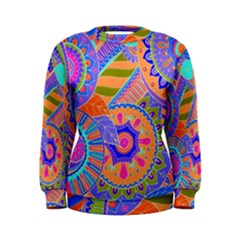 Pop Art Paisley Flowers Ornaments Multicolored 3 Women s Sweatshirt