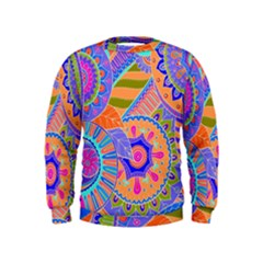 Pop Art Paisley Flowers Ornaments Multicolored 3 Kids  Sweatshirt