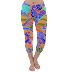 Pop Art Paisley Flowers Ornaments Multicolored 3 Capri Winter Leggings