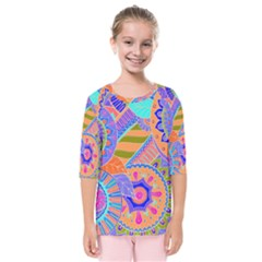 Pop Art Paisley Flowers Ornaments Multicolored 3 Kids  Quarter Sleeve Raglan Tee