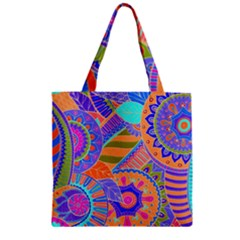 Pop Art Paisley Flowers Ornaments Multicolored 3 Zipper Grocery Tote Bag