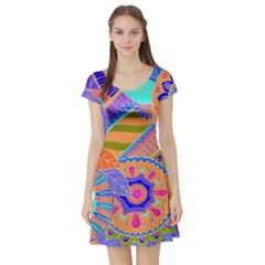 Pop Art Paisley Flowers Ornaments Multicolored 3 Short Sleeve Skater Dress