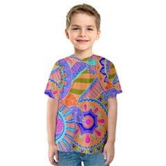 Pop Art Paisley Flowers Ornaments Multicolored 3 Kids  Sport Mesh Tee