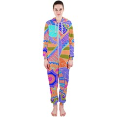 Pop Art Paisley Flowers Ornaments Multicolored 3 Hooded Jumpsuit (ladies)