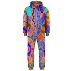 Pop Art Paisley Flowers Ornaments Multicolored 3 Hooded Jumpsuit (men)