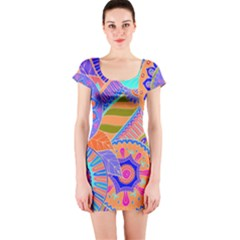 Pop Art Paisley Flowers Ornaments Multicolored 3 Short Sleeve Bodycon Dress