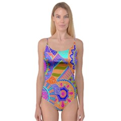 Pop Art Paisley Flowers Ornaments Multicolored 3 Camisole Leotard