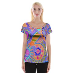 Pop Art Paisley Flowers Ornaments Multicolored 3 Cap Sleeve Tops