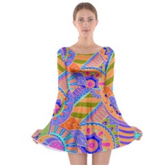 Pop Art Paisley Flowers Ornaments Multicolored 3 Long Sleeve Skater Dress