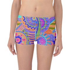 Pop Art Paisley Flowers Ornaments Multicolored 3 Boyleg Bikini Bottoms